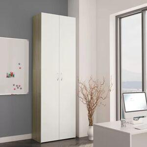 17 Stories Office Cabinet White And Sonoma Oak 60X32x190 Cm Chipboard 17 Stories  - Size: 190cm H X 60cm W X 32cm D
