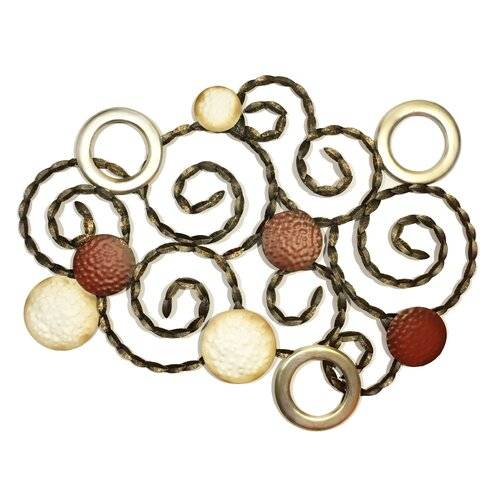 Marlow Home Co. Circles Wall Décor Marlow Home Co.  - Red/Brown/Gold - Size: Large