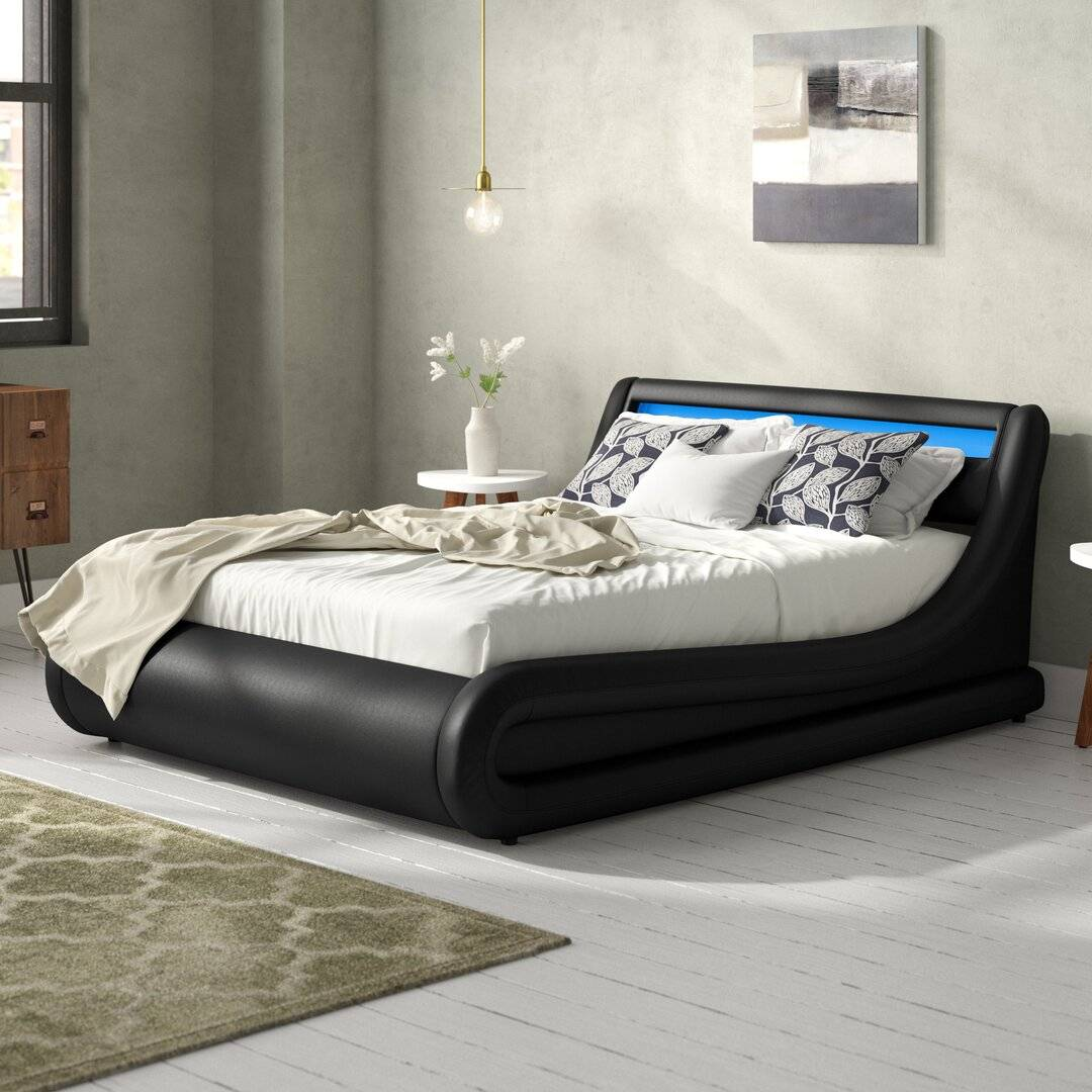 Brayden Studio Galaxy LED Upholstered Ottoman Bed  - Size: 198.0 H x 71.1 W cm