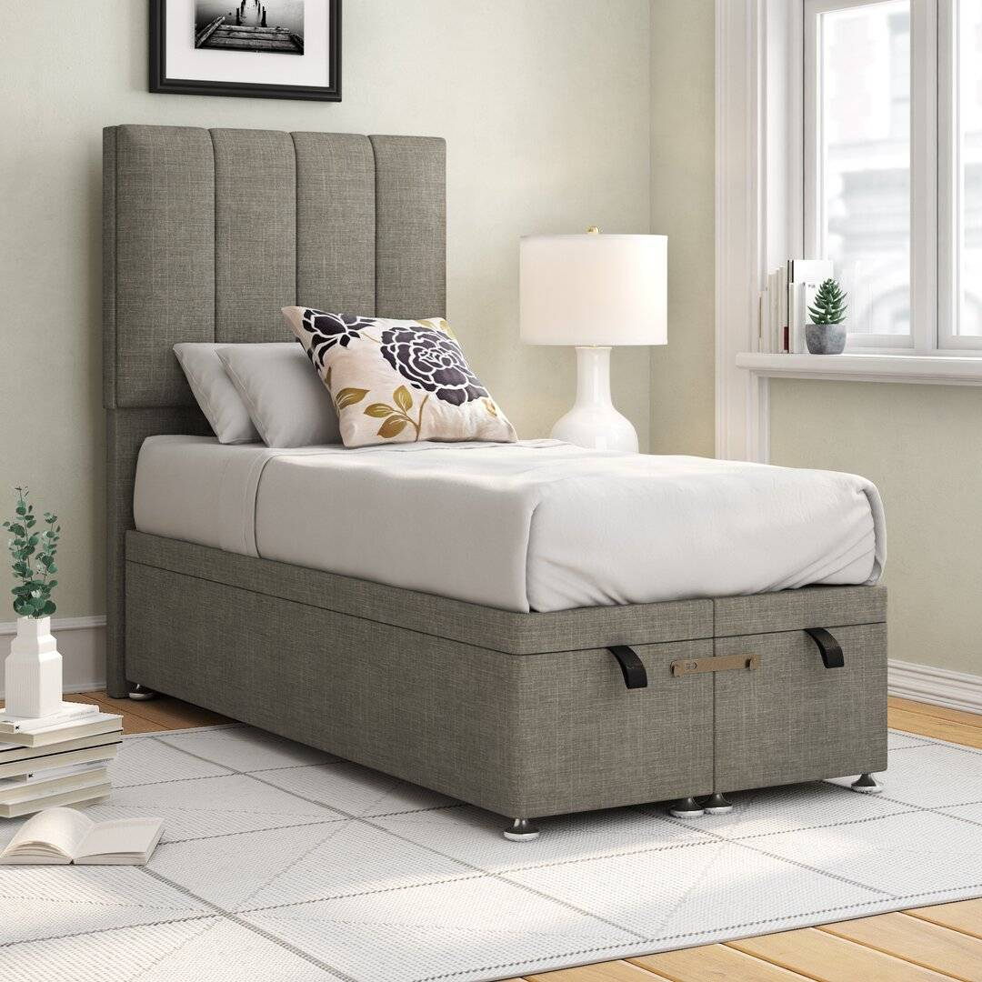 Brayden Studio Middletown Bryony Upholstered Ottoman Bed  - Size: 198.0 H x 100.0 W x 43.0 D cm