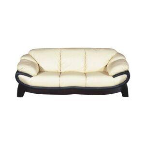 Ebern Designs Baron Leather 3 Seater Sofa Ebern Designs Finish: Off White and Black  - Size: 91cm H X 235cm W X 99cm D
