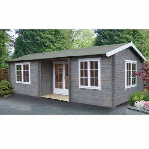 Sol 72 Outdoor Vinalhaven 26 x 14 Ft. Tongue and Groove Log Cabin Sol 72 Outdoor Installation Available: Yes  - Size: 250cm H X 779cm W X 419cm D