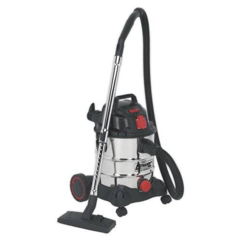 Sealey Stainless Bagless Cylinder Vacuum Cleaner with Auto Start Sealey  - Size: 30cm H X 51cm W X 22cm D
