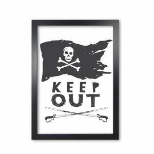 East Urban Home Pirate Keep Out by Pixy Paper - Picture Frame Typography on Paper  - Size: 27.2 H x 55.3 W x 55.3 D cm