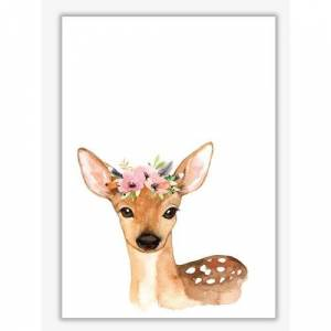 East Urban Home Forest Friends, Floral Cute Deer - Painting Print on Paper East Urban Home Format: No Frame, Size: 60 cm H x 42 cm W x 1 cm D  - Size: 60 cm H x 42 cm W x 1 cm D
