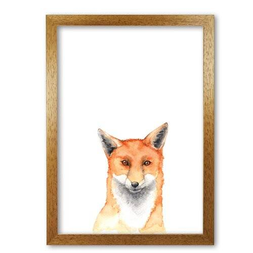 East Urban Home 'Forest Friends, Fox' Painting East Urban Home Format: Honey Oak Frame, Size: 60 cm H x 42 cm W x 5 cm D  - Size: 60 cm H x 42 cm W x 5 cm D