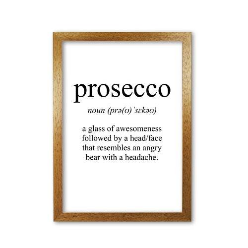 East Urban Home 'Prosecco' Textual Art East Urban Home Format: Honey Oak Frame, Size: 85 cm H x 60 cm W x 5 cm D  - Size: 85 cm H x 60 cm W x 5 cm D