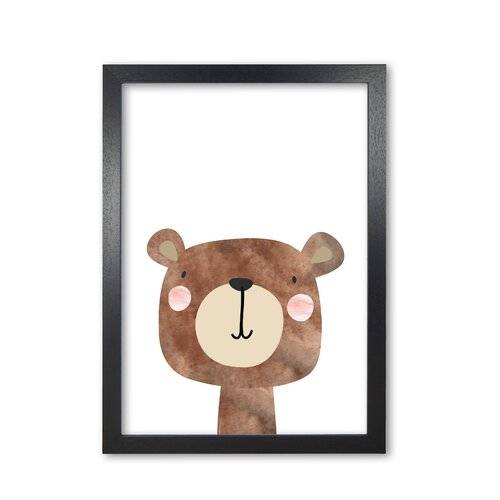 East Urban Home 'Scandi Brown Bear' Painting East Urban Home Format: Black Grain Frame, Size: 85 cm H x 60 cm W x 5 cm D  - Size: 85 cm H x 60 cm W x 5 cm D