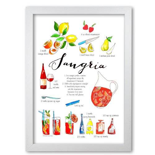 East Urban Home 'Sangria Ingredients Recipe' Typography East Urban Home Frame Options: White Grain, Size: 84.1 cm H x 59.4 cm W x 5 cm D  - Size: 84.1 cm H x 59.4 cm W x 5 cm D