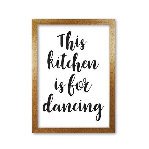 East Urban Home 'This Kitchen Is For Dancing' Textual Art East Urban Home Format: Honey Oak Frame, Size: 85 cm H x 60 cm W x 5 cm D  - Size: 85 cm H x 60 cm W x 5 cm D