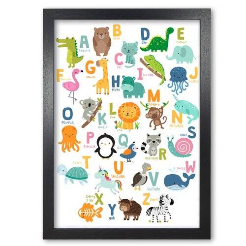 East Urban Home 'Animal Alphabet' Graphic Art East Urban Home Format: Black Grain Frame, Size: 42 cm H x 30 cm W x 5 cm D  - Size: 42 cm H x 30 cm W x 5 cm D