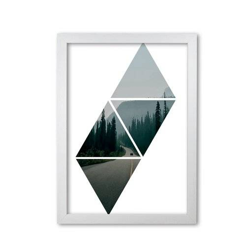 East Urban Home 'Abstract Triangles and Forest' Photograph East Urban Home Format: White Grain Frame, Size: 85 cm H x 60 cm W x 5 cm D  - Size: 85 cm H x 60 cm W x 5 cm D