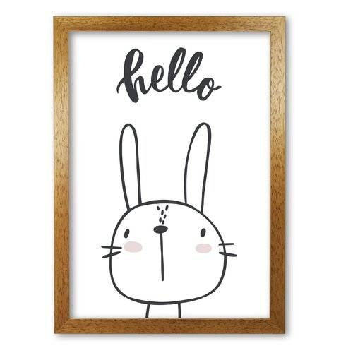 East Urban Home 'Hello Bunny' Painting East Urban Home Format: Honey Oak Frame, Size: 85 cm H x 60 cm W x 5 cm D  - Size: 85 cm H x 60 cm W x 5 cm D