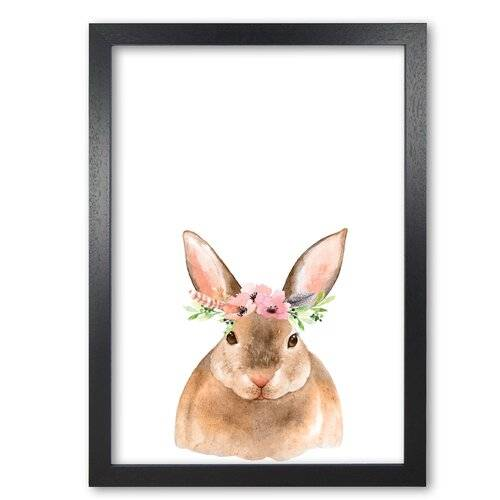 East Urban Home 'Forest Friends, Floral Cute Bunny' Painting East Urban Home Format: Black Grain Frame, Size: 60 cm H x 42 cm W x 5 cm D  - Size: 60 cm H x 42 cm W x 5 cm D