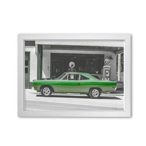 East Urban Home 'Green Car' Photograph East Urban Home Format: White Grain Frame, Size: 85 cm H x 60 cm W x 5 cm D  - Size: 85 cm H x 60 cm W x 5 cm D
