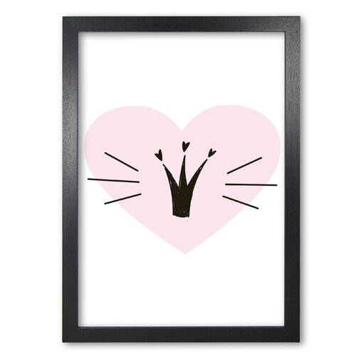 East Urban Home 'Crown with Heart' Painting in Pink East Urban Home Format: Black Grain Frame, Size: 42 cm H x 30 cm W x 5 cm D  - Size: 42 cm H x 30 cm W x 5 cm D