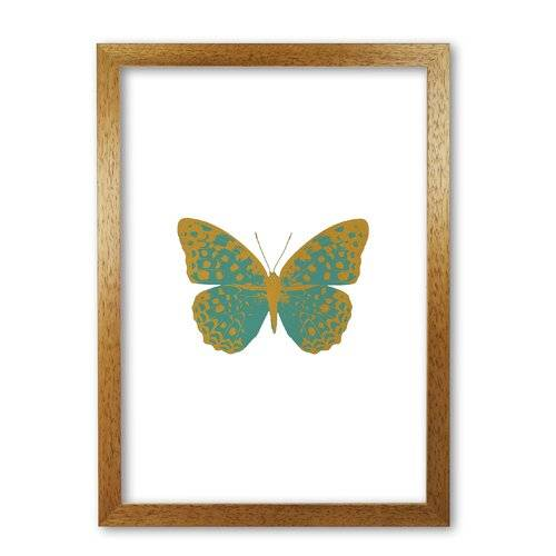 East Urban Home 'Butterfly' Graphic Art in Teal East Urban Home Format: Honey Oak Frame, Size: 85 cm H x 60 cm W x 5 cm D  - Size: 85 cm H x 60 cm W x 5 cm D