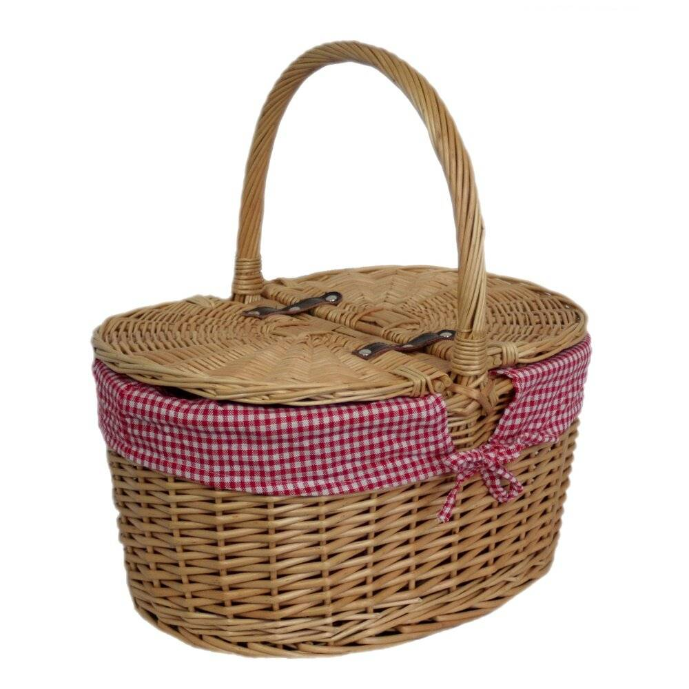 Brambly Cottage Lidded Picnic Basket with Check Lining - Size: 40.0 H x 30.5 W x 41.5 D cm