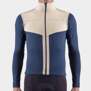 Isadore Shield Long Sleeve Jersey 2.0 - XL Midnight Navy/Beige