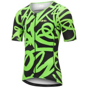 dhb Blok Tri Short Sleeve Top - JAZZ - Extra Large Black/Green; Male