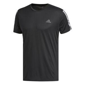 adidas Run 3 Stripe Tee - Extra Large Black