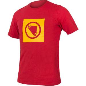 Endura One Clan Carbon Icon T Shirt - S Red   T-Shirts; Male