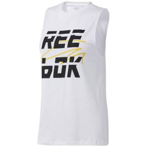 Reebok Women's WOR MYT Muscle - Extra Large White   Running Vests