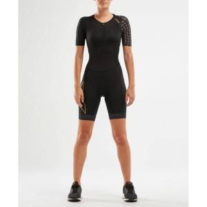 2XU Womens Compression Sleeved Trisuit - Extra Large Black/Gold; Female