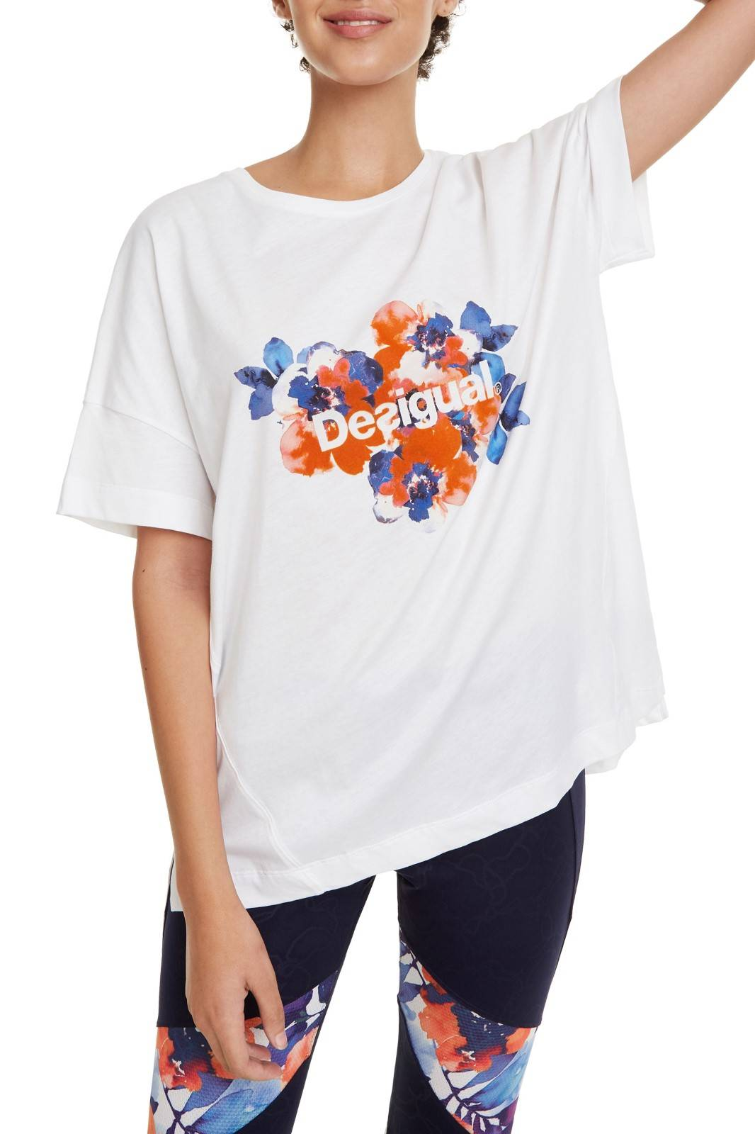 Desigual white sports T-shirt T-shirt Camo Flower with colorful motifs