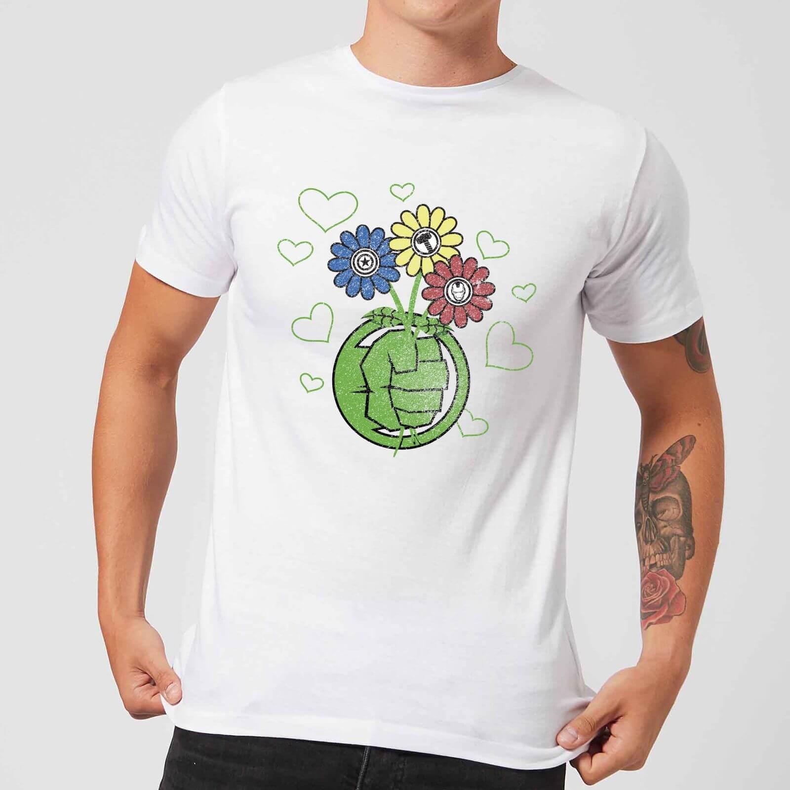 Marvel Avengers Hulk Flower Fist T-Shirt - White - 4XL - White