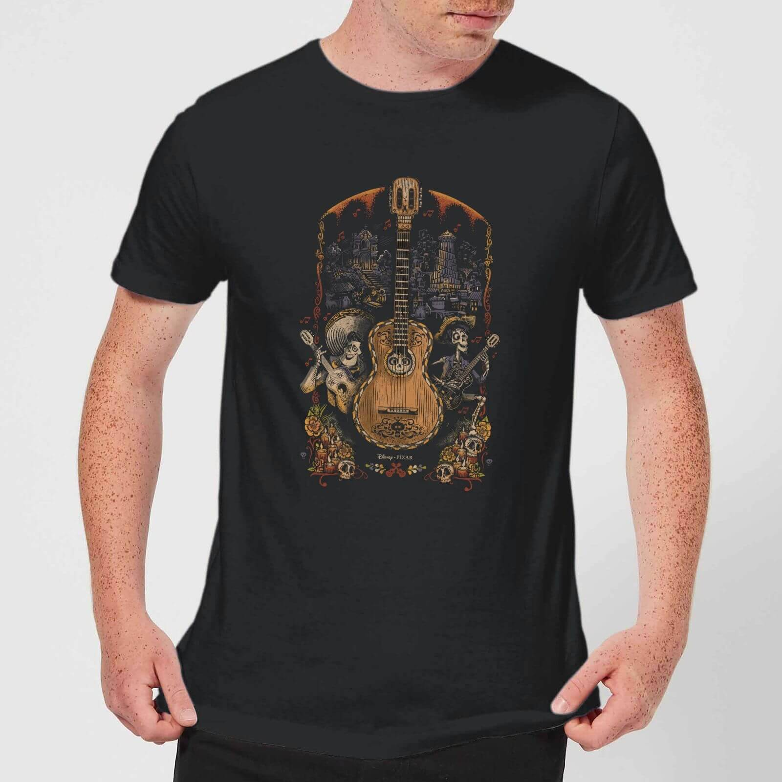 Disney Coco Guitar Poster Men's T-Shirt - Black - S - Black