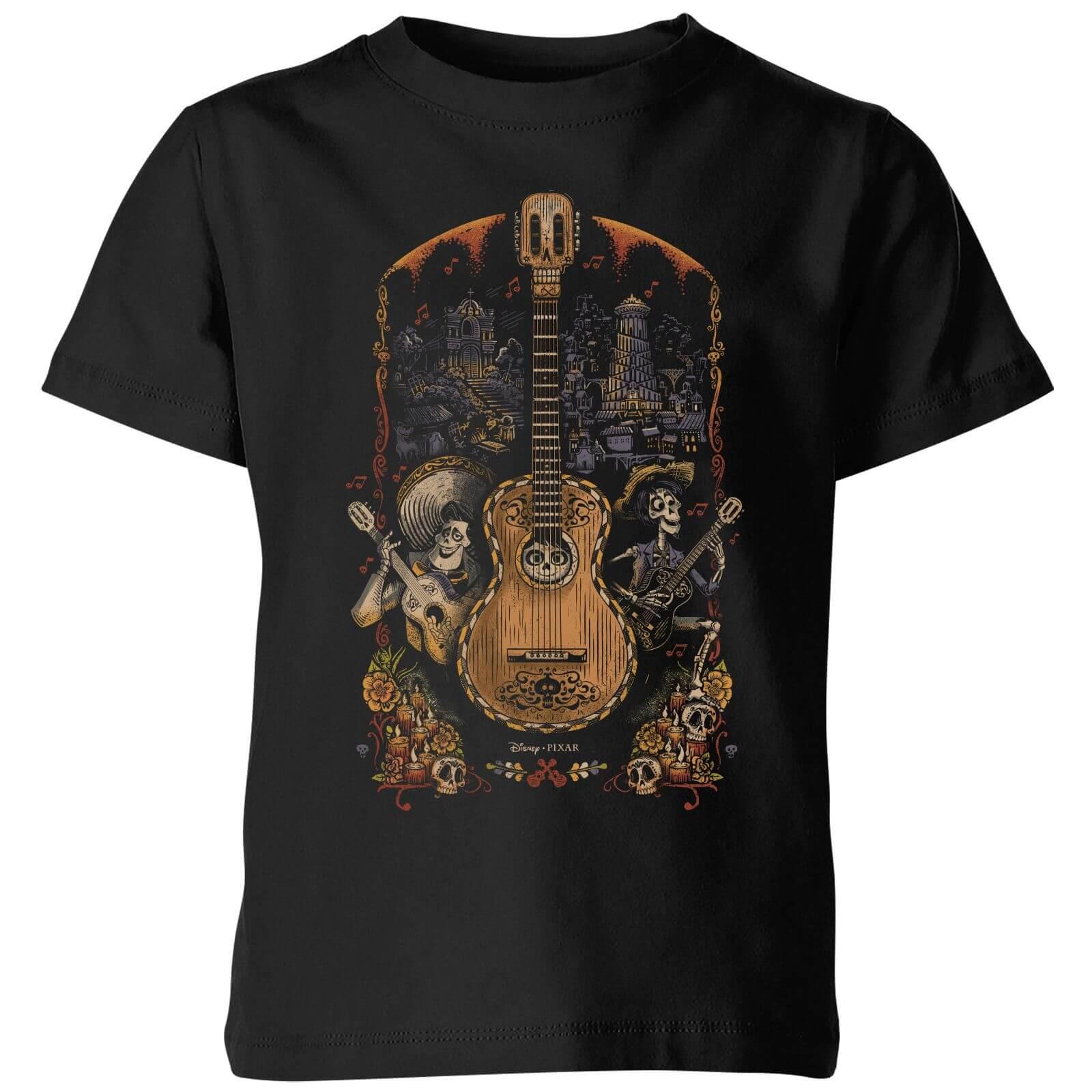 Disney Coco Guitar Poster Kids' T-Shirt - Black - 7-8 Years - Black
