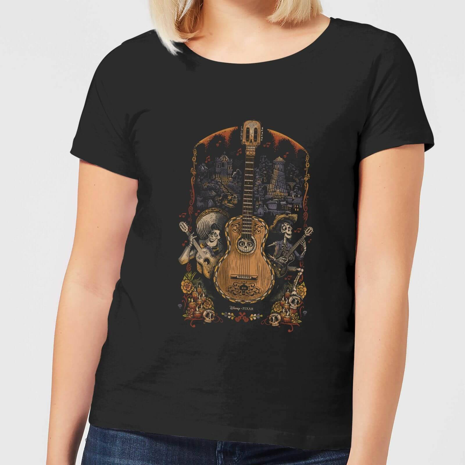 Disney Coco Guitar Poster Women's T-Shirt - Black - XL - Black