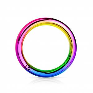 Spikes Coloured steel segment ring with hinge - 2 mm - 12 mm - Rainbow