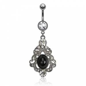 a97b2986ab5 Brooches Spikes Black belly bar with classic brooch and dark jewel