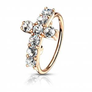 Spikes Crystal paved cross shaped top bendable nose ring – Rose Gold