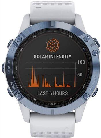 Refurbished: Garmin Fenix 6 Pro Solar Smartwatch - Mineral Blue/Whitestone, B