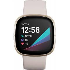 Refurbished: Fitbit Sense Health And Fitness Smartwatch+GPS - Lunar White/Soft Gold, B