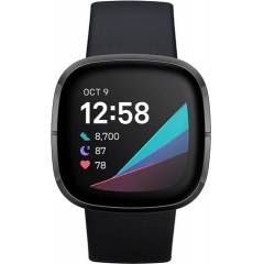 Refurbished: Fitbit Sense Health And Fitness Smartwatch+GPS - Carbon/Graphite Steel, B