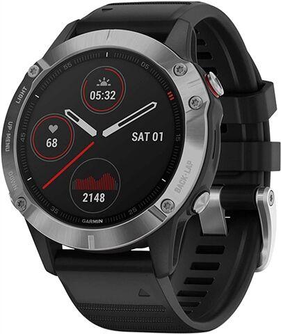 Refurbished: Garmin Fenix 6 GPS Multisport - Silver with Black Strap, A