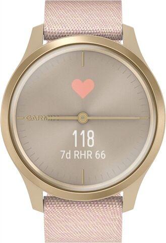 Refurbished: Garmin VivoMove Style Hybrid Smartwatch Gold with Pink Woven Nylon Band, C