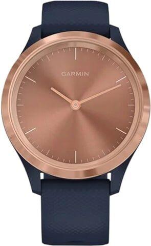Refurbished: Garmin Vivomove 3S Hybrid Smartwatch - Rose Gold & Navy Blue Silicone, B