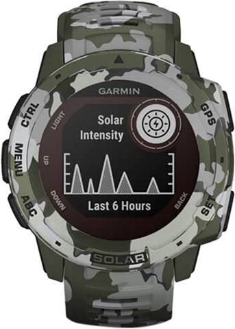 Refurbished: Garmin Instinct Solar GPS Smartwatch - Camo Green, A