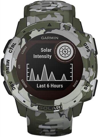 Refurbished: Garmin Instinct Solar GPS Smartwatch - Camo Green, B