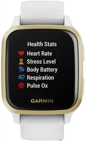 Refurbished: Garmin Venu SQ GPS Smartwatch - White & Light Gold, A