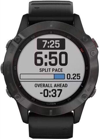 Refurbished: Garmin Fenix 6 Sapphire DLC Smartwatch - Carbon Grey/Black, B
