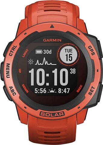 Refurbished: Garmin Instinct Solar GPS Smartwatch - Flame Red, B