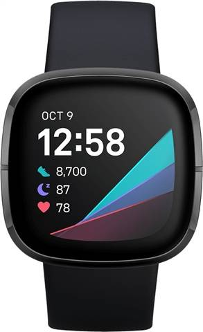Refurbished: Fitbit Sense Health And Fitness Smartwatch+GPS - Carbon/Graphite Steel, A