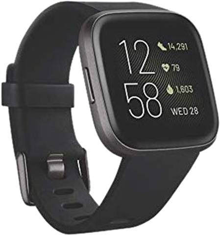 Refurbished: Fitbit Versa 2 Fitness Smartwatch - Black/Carbon, A