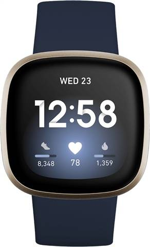 Refurbished: Fitbit Versa 3 Health & Fitness Smartwatch - Midnight / Soft Gold, B